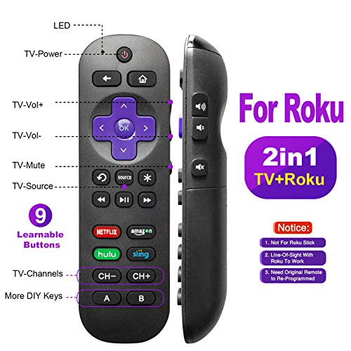 Universal Remote Control for Roku Player with 9 More Learning Keys to Control TV&Soundbar Receiver All in One (Not for Roku Stick)