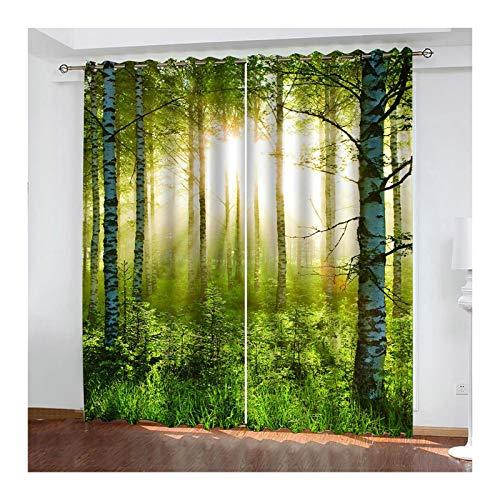 AueDsa Vorhang Polyester Wald und Sonne Grün Lichtdichte Vorhänge 98% Blickdichter Vorhang 2er Pack 264x138CM
