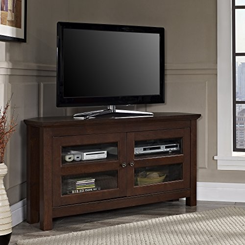 Walker Edison Modern Farmhouse Wood Corner Universal Stand for TV's up to 50' Flat Screen Living Room Storage Entertainment Center, Traditional Brown
