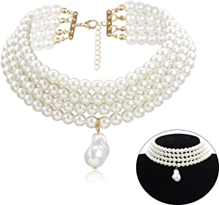 Daimay Simulated Pearl Chokers Multi-Layer Pearl Necklace Multi-Strand Pearl Statement Bridal Choker Necklace for Wedding Party Jewelry 20s Flapper Necklace for Party-Round