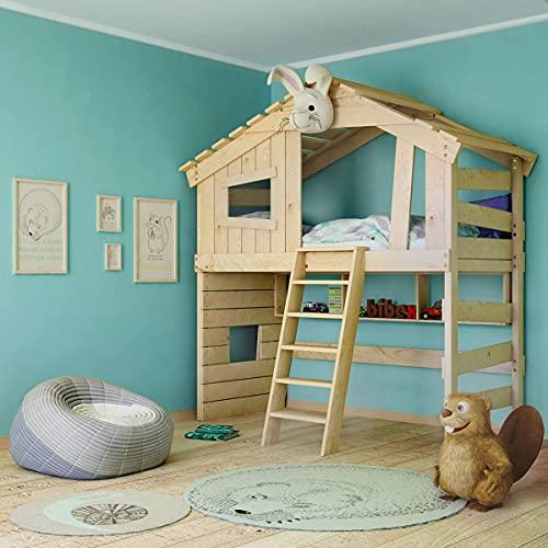 Alpin Chalet - Cama alta para niños, cama de juegos, cama de casa, de madera maciza, natural, 100% bio (accesorios opcionales, con estante inferior cuadrado)