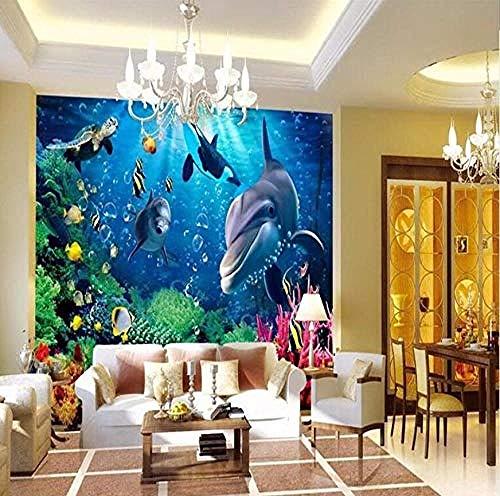 Papel tapiz mural Decoración para el hogar Foto azul del fondo del mar para paredes Suelo 3D Pared Pintado Papel tapiz 3D Decoración dormitorio Fotomural sala sofá mural-430cm×300cm