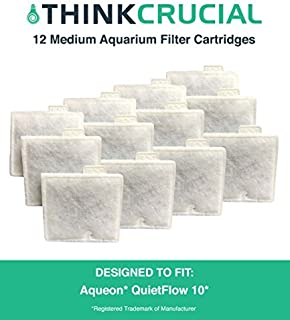 Think Crucial Aquarium Filter Replacement Parts - Compatible with Aqueon QuietFlow Power 10 Generic Charcoal Filters - Med...