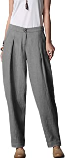 Women's Casual Linen Pants Elastic Waist Tapered Pants Trousers With Pockets