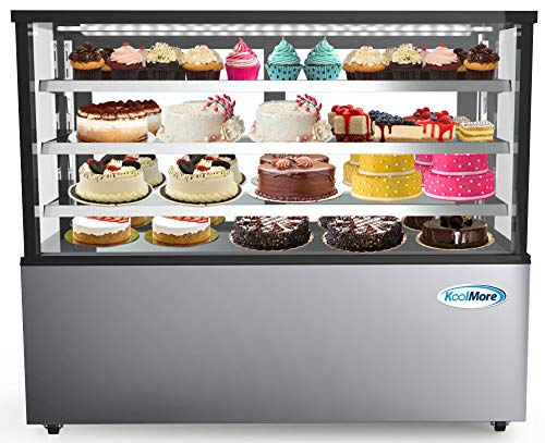 """KoolMore Refrigerated Bakery Display Case for Cakes, Pies, and Pastries, 71"""" Stainless Steel Frame, Glass Front, Multi-Tiered Shelving Rack and LED Lighting- 30 cu.ft (RBD30C)"""