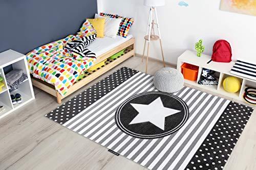 RugsX Tapis Enfant Petit pour Chambre de bébé, Tapis de Jeux, Chambres d'enfants, Star étoiles Gris 140x190 cm