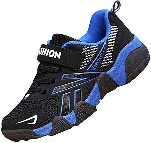 Daclay Boy Schuhe Freizeitschuhe Sportschuhe Freizeitschuhe Mesh Klettverschluss (Blue, Numeric_31)