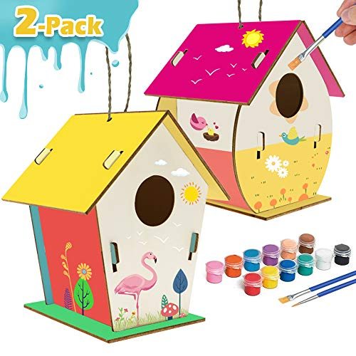 Kids Crafts Wood Arts and Crafts for Kids Ages 8-12 DIY Bird House Kit for Children to Build and Paint Reinforced Design - Creative Kids Activities Projects Party Favors for Boys and Girls