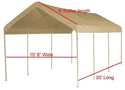 Costco Heavy Duty Roof Cover Top Replacement For Carport Canopy Shelter Canvas 10 X 20 Feet Waterproof Uv Resistant Cover Only Frame Not Included Car Port Baby Amazon Com