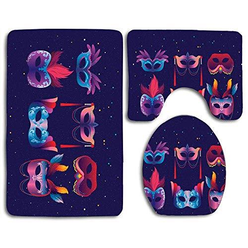 Set de alfombrillas de baño Carnevale Di Venezia Masks Alfombra de contorno Cubierta de tapa de inodoro en forma de U, antideslizante, lavable a máquina, juego de alfombras de 3 piezas más fácil de se
