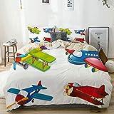 Ropa de cama beige - Juego de funda nórdica, ilustración de avión con planos de estilo de dibujos animados de todas las formas y tamaños de avión de pasajeros, juego de funda nórdica de microfibra cm