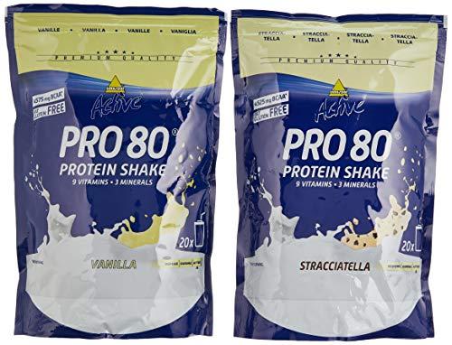 Inkospor Active Proteinshake Pro 80 Beutel 2er Mix Pack (2 x 500 g) Vanille/Stracciatella, 1er Pack (1 x 1 kg)