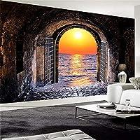 カスタム写真の壁紙3Dステレオスペーストンネルサンセットシービュー壁画リビングルームレストラン背景壁画3Dフレスコ画, 200cm×140cm