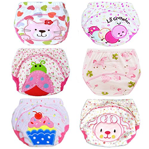 HaimoBurg 6er Pack Wasserdicht Baby Lernwindel Trainerhosen Unterwäsche Windeln Windelhose zum Toilettentraining Töpfchentraining (100, Rosa)