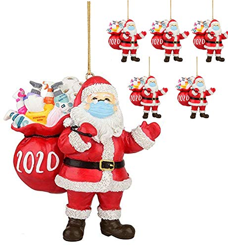 6 Pcs 2020 Santa Claus Ornaments, Santa with Mask Ornament, Santa Claus with Face Cover, Home Decor for Christmas