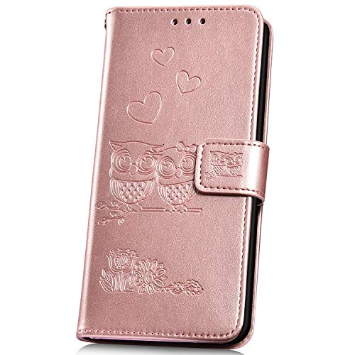 JAWSEU Compatible avec Samsung Galaxy Grand Prime G530 Coque Portefeuille PU Étui Cuir à Rabat Magnétique Lovely Belle Gaufrage Chouette Motif Ultra Mince Stand Leather PU Flip Wallet Case,or rose