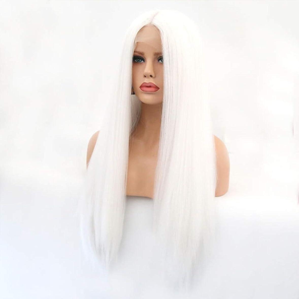 不格好食器棚嫌なSummerys 本物の髪として自然な女性のためのフロントレースホワイトかつらロングストレートヘア