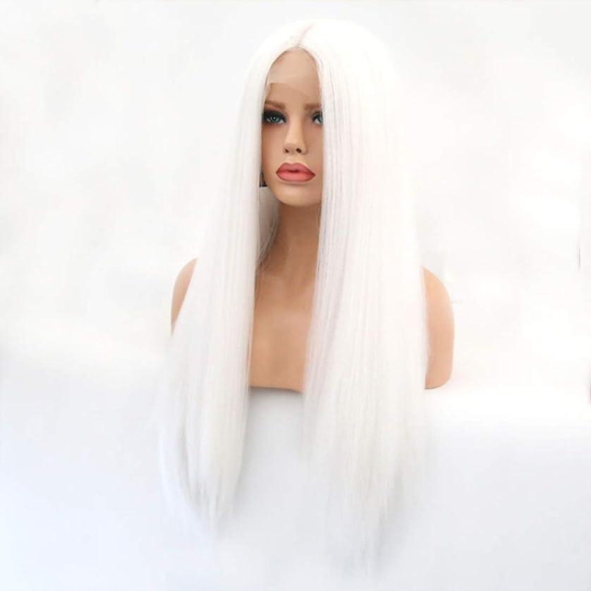 義務狂人テザーSummerys 本物の髪として自然な女性のためのフロントレースホワイトかつらロングストレートヘア