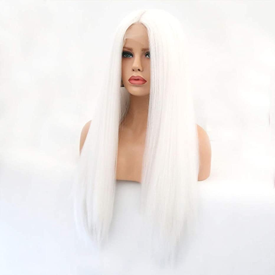 ゼリー付添人すりSummerys 本物の髪として自然な女性のためのフロントレースホワイトかつらロングストレートヘア