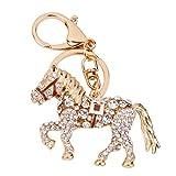 Pixnor Porte-clés breloque en forme de cheval avec strass (café)