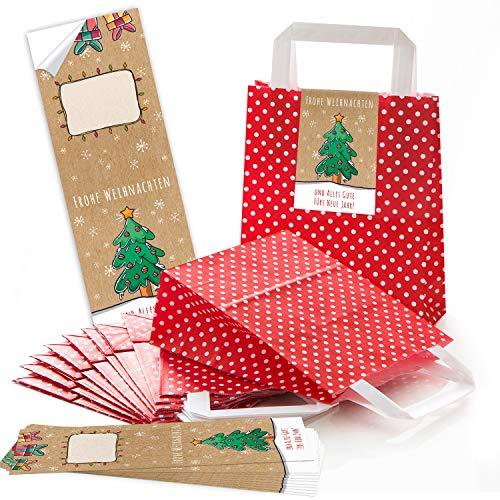 10 rote Kraftpapier Papiertüte Geschenktüte gepunktet mit Henkel Boden 18 x 8 x 22 cm + 10 weihnachtliche Aufkleber FROHE WEIHNACHTEN ALLES GUTE FÜRS NEUE JAHR grün beige Geschenkverpackung