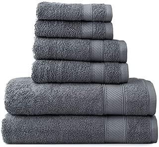 Wamsutta 6-Piece Hygro Duet Bath Towel Set Includes Washcloths,Hand Towels Bath Towels (Pewter)