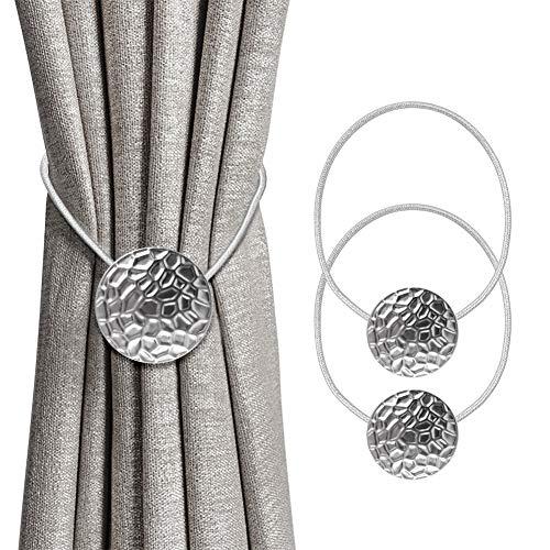 INHDBOX Magnetische Vorhang Raffhalter, 2 Stück Kreative Metall Vorhang Clips Seil Rückwärtige Vorhang Halter Schnallen Vorhang Binder Gardinenhalter für Haus Büro Dekoration (Silber)