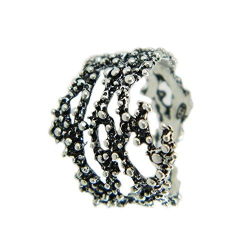 Anello a grani argento brunito forma ramo corallo lavorazione stile sardo modello aperto misura regolabile
