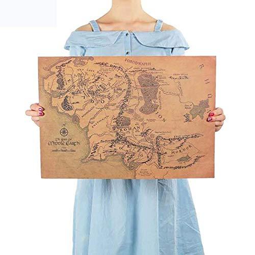 BonTime Mapa de la Tierra Media El Señor de los Anillos Cartel de Papel Kraft Sala de Estar Decoración extraíble