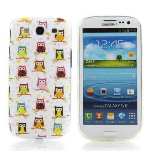 Handy Lux® Schutz Hülle für Samsung Galaxy S3 i9300 TPU/NEO i9301 Silikon Hülle Etui Cover Involto Motiv Design Comic Viele Eulen Baum