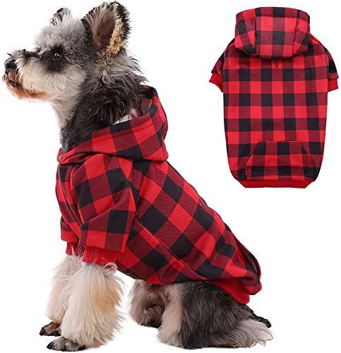 Abrigo para perro WInter, clásico a cuadros, chaqueta cálida con agujero para arnés y sombrero, resistente al viento, para perros pequeños y medianos
