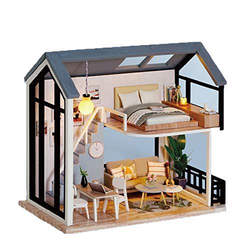 Casa de muñecas con kits de manualidades de muebles para adultos, realista, mini casa de madera 3D, artesanía en habitación, 1