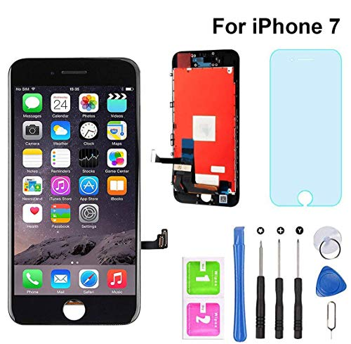 "for iPhone 7 Screen Replacement Black 4.7"" LCD Display Touch Screen Digitizer Assembly Set with Free Repair Tools (iPhone 7, Black)"