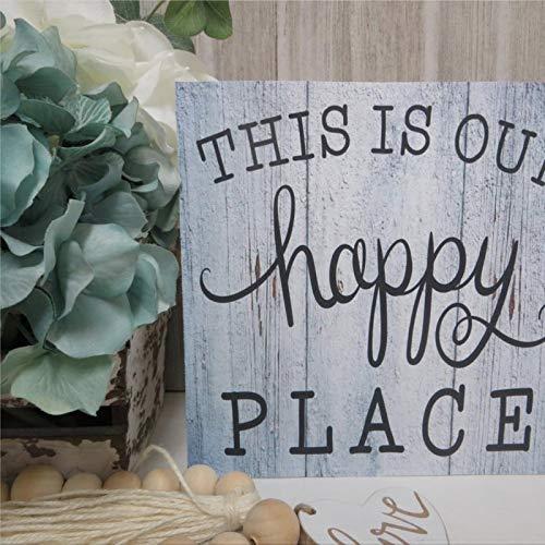 DONL9BAUER This Is Our Happy Place, señal de madera, mesa de entrada de la habitación familiar, decoración de pared de madera, placa de madera para casa, jardín, porche, pared de galería, cafeterías.