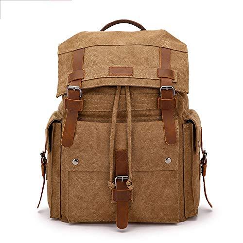 Kaper Go Simple Wild Bolsa de hombro de gran capacidad para hombre, mochila de lona retro, para estudiantes, bolsa de viaje al aire libre, bolsa de lona (32 x 18 x 49 cm)