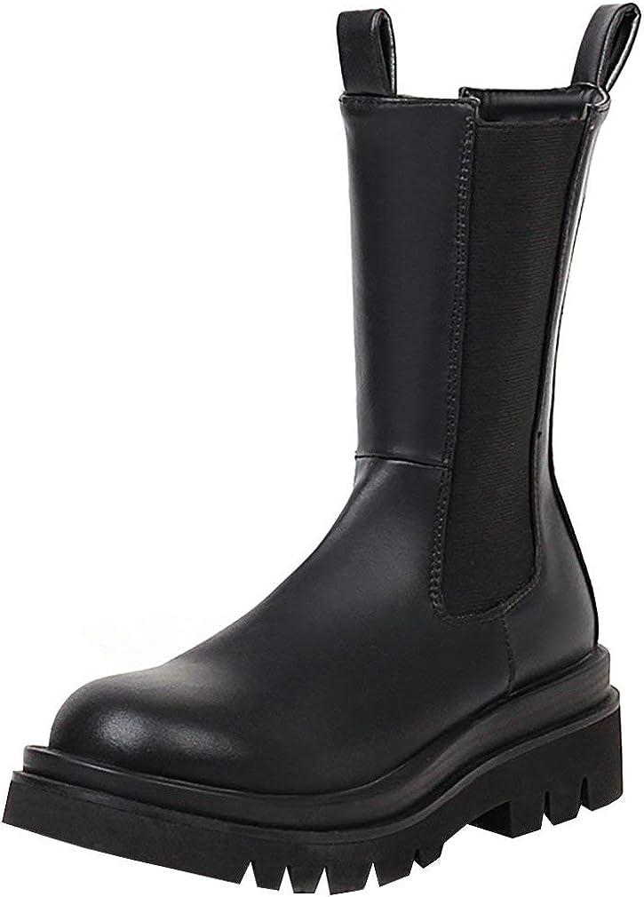 Parisuit Women's Chunky Platform Ankle Boots Slip On Mid Calf Chelsea Boots Fashion Elastic Short Shoes