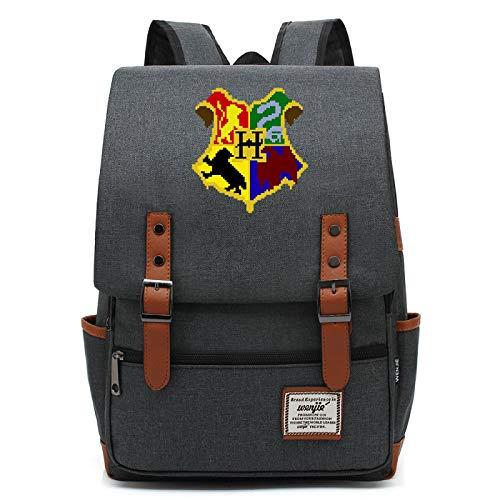 MMZ Mochila Unisex Mochila Estilo Hogwarts, Mochila para Libros para nios, Mochila Escolar de Ocio para escuelas primarias y secundarias 43X29X13.5CM Darkgray