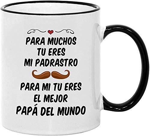 N\A Regalos para Padrasto. Taza de Café del Día del Padre. Taza de 11 oz de padrastro español. Idea de Regalo para Papa de Cumpleanos.