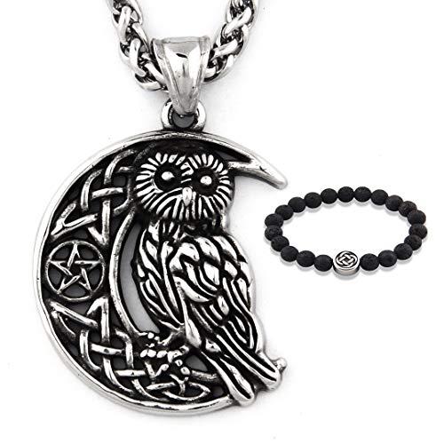 GUNGNEER Stainless Steel Irish Celtic Owl Moon Star Pendant Necklace Wisdom Spirit Protection Strength Jewelry
