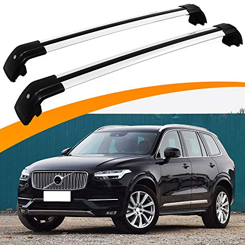 SnailAuto Fit for Volvo XC90 2015-2019 2020 Lockable Baggage Silver Cross Bars Luggage Rack Roof Rack