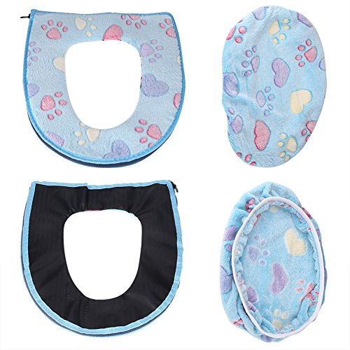 2 Pezzi/Set Coprisedile WC Antibatterico Addensare Igienici Cuscino Caldo Morbido Velluto di Corallo Universale Warm coprisedile WC con Cerniera Rainbow Color Decorazione del Bagno (Blue)