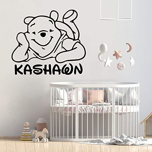 Winnie l'ourson sticker mural nom personnalisé pour chambre d'enfants filles Winnie l'ourson décor à la maison ourson décoration de bande dessinée