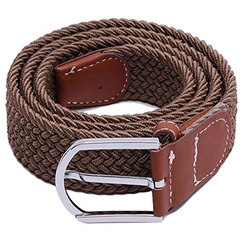 DSY Moda Hombres Elástico Cinturón de Punto Hebilla Metal Cintura Correa Cinturón 6 Colores guitarras/de color caqui profunda