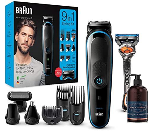 Braun MGK5280 9 en 1 -  Máquina cortar pelo recortadora de barba,  set de depilación corporal y cortapelos para hombre + King C. Gillette Gel para cuidado Barba