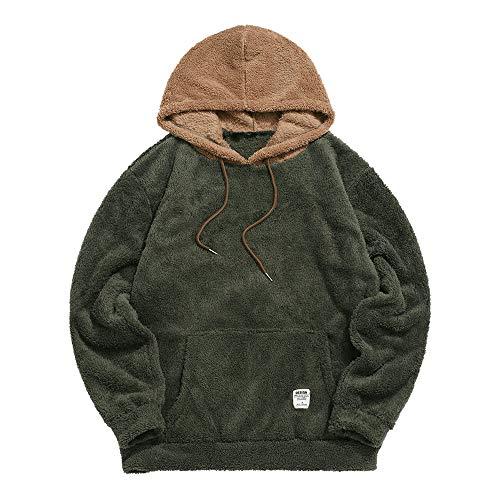 ZAFUL Color Blocking Fuzzy Hoodie Unisex Men Sherpa Pullover Loose Fluffy Sweatshirt (Army green-B, L)