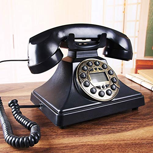 YDS SHOP Europese antieke telefoon Vintage Retro Landline Home Office Landline zwarte knop/metalen roterende wijzerplaat mechanische ring handsfree bellen