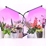 Grow Lights for Indoor Plants, Full Spectrum Growing Lamps with Timer, Dual Head 40W Succulent Clip Growlight, 3 Switch Modes 9 Dimmable Brightness