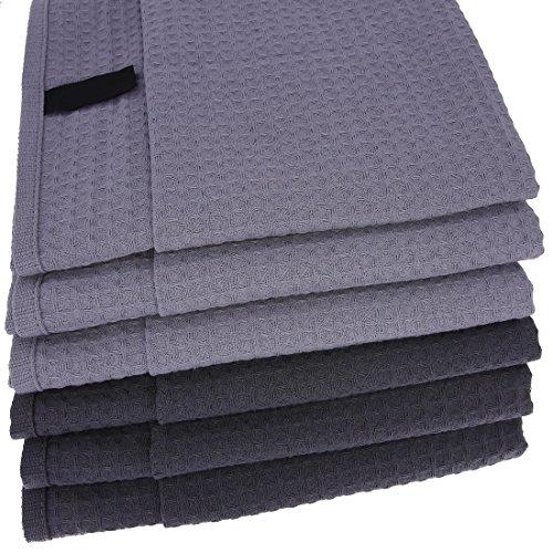 Damilo 6X Geschirrtücher/Tücher aus 100% Baumwolle Waffel-Piqué in 3X anthrazit und 3X Grau