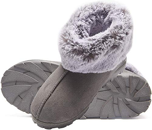 Jessica Simpson Women's Tipped Faux Fur Microsuede Super Soft Bootie Slippers With Indoor Outdoor Sole, Grey, Large