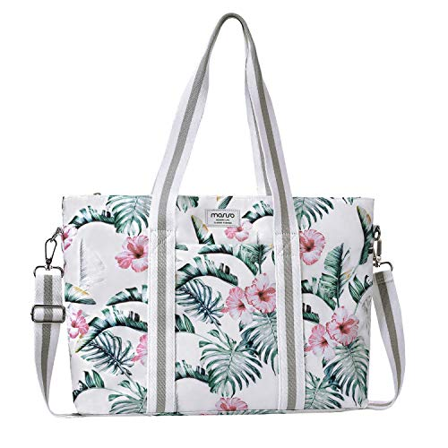 MOSISO Laptop Tote Bag (Up to 17.3 Inch), Canvas Classic Multifunctional Work Travel Shopping Duffel Carrying Shoulder Handbag Compatible with Notebook MacBook Ultrabook Chromebook, Banana Leaf